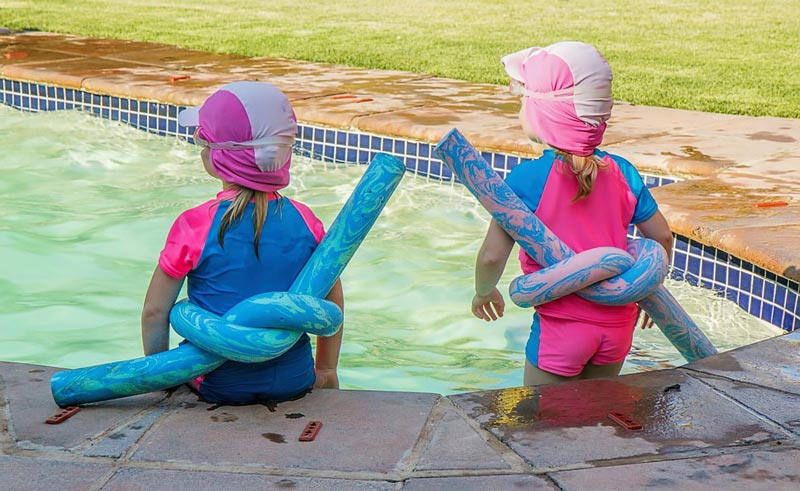 Kids in swiiming pool