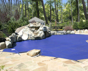 Large blue pool cover