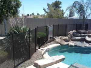Mid height black pool fence