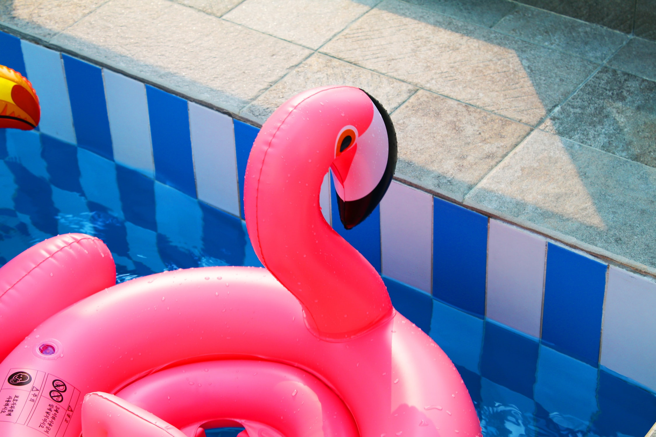 A pink flamingo-shaped flotation device floating in a pool.