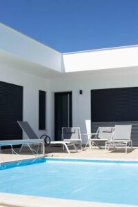 A backyard residential pool
